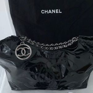 Chanel XL Coco Cabas Vinyl Dual Chain w/ Pouch